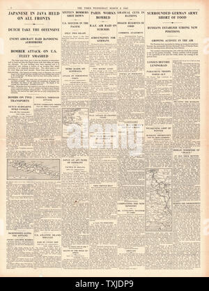 1942 page 4  The Times Battle for Java and German Army short of food in Russia - Stock Photo
