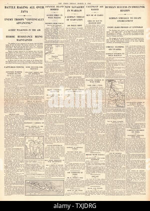 1942 page 4 The Times Battle for Java, Russian Army advance on Smolensk and German reprisals in Warsaw - Stock Photo
