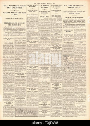 1942 page 4 The Times Battle for Java and Russian Army offensive continues - Stock Photo