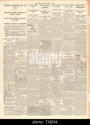 1942 page 4 The Times Battle for Java, Fall of Rangoon and John Charles Campbell awarded the Victoria Cross - Stock Photo
