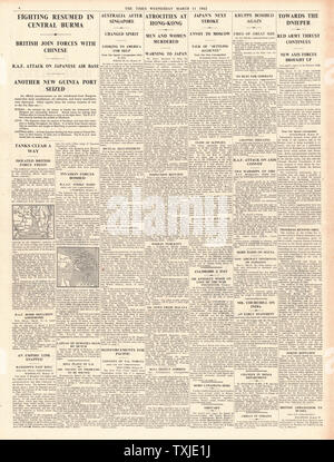 1942 page 4 The Times Battle for Burma and Japanese atrocities in Hong Kong - Stock Photo
