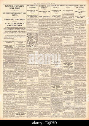 1942 page 4 The Times Battle for New Guinea and Burma - Stock Photo