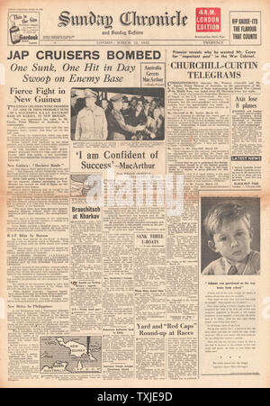 1942 front page Sunday Chronicle Japanese Warships bombed off Rabaul, MacArthur 'Confident of Success' and appointment of Richard Casey to War Cabinet - Stock Photo