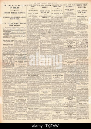 1942 page 4  The Times Battle for Burma and Italian Battleship torpedoed - Stock Photo