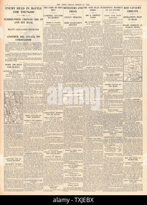 1942 page 4 The Times Battle for Burma and Japanese Airforce bomb Corregidor - Stock Photo