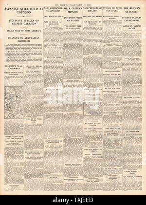 1942 page 4 The Times Battle for Burma - Stock Photo