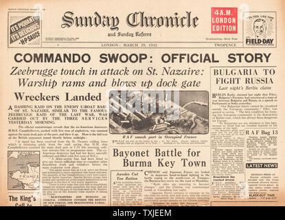 1942 front page  Sunday Chronicle British Commando Raid on Docks at St.Nazaire - Stock Photo