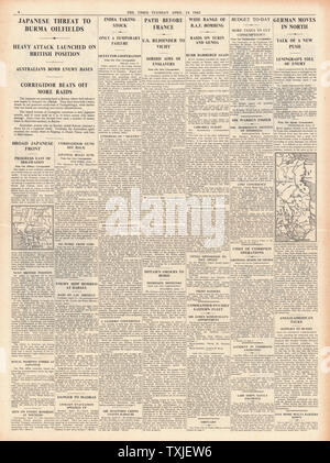 1942 page 4 The Times Battle for Burma Oil Fields and RAF Bomb Northern Italy - Stock Photo