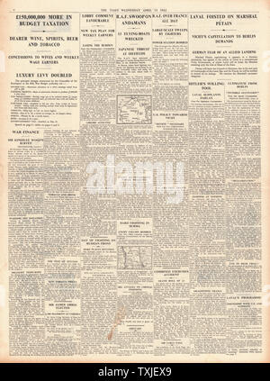 1942 page 4 The Times Sir Kingsley Wood, Chancellor of the Exchequer, announces The Budget and Pierre Laval re-instated as Vice Premier of Vichy France - Stock Photo