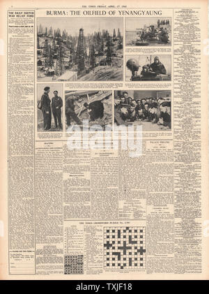 1942 page 6 The Times Battle for Burma Oil Fields at Yenangyaung - Stock Photo