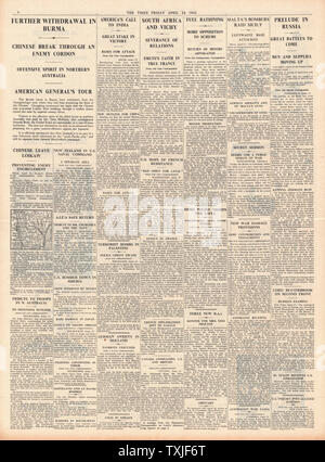 1942 page 4 The Times British Forces retreat in Battle for Burma - Stock Photo
