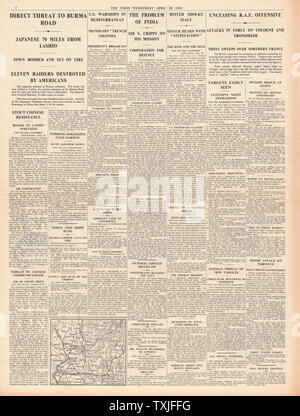 1942 page 4 The Times Battle for Burma RAF Bombing raids on Germany and Occupied Europe - Stock Photo