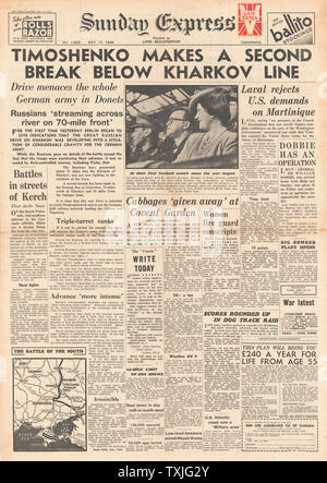 1942 front page Sunday Express Battle for Kharkov - Stock Photo