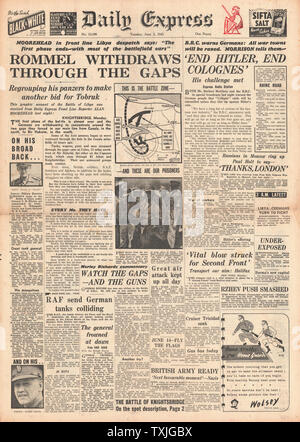 1942 front page Daily Express Battle for Libya and Bombing of Cologne - Stock Photo