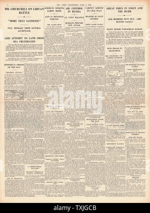 1942 page 4 The Times RAF Bombing Raids over Germany - Stock Photo