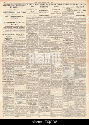 1942 page 4  The Times Battle for Libya, British Commandos land near Boulogne, Reinhard Heydrich dead and British Government to control all Coal Mines - Stock Photo