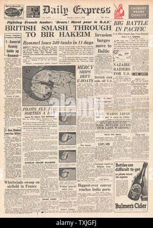 1942 front page Daily Express Battle for Libya and Battle of Midway - Stock Photo