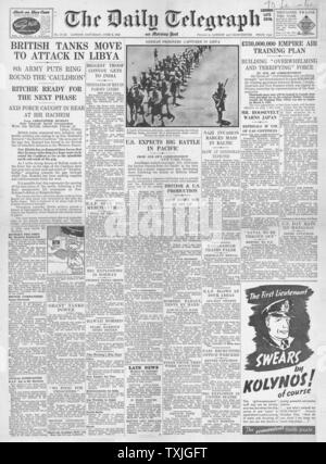 1942 front page Daily Telegraph Battle for Libya and Battle of Midway - Stock Photo