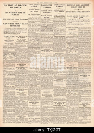 1942 page 4 The Times Battle of Midway, Battle for Sebastapol, Battle of Libya and RAF Bomb Emden - Stock Photo