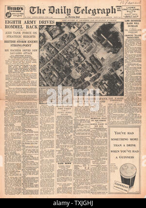 1942 front page  Daily Telegraph Battle for Libya, Battle for Midway and RAF Bombing of Cologne - Stock Photo