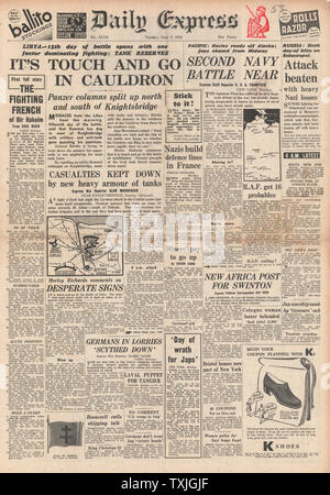 1942 front page  Daily Herald Battle for Russia, Libya and Pacific - Stock Photo