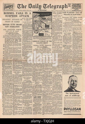 1942 front page Daily Telegraph Battle for Libya and Axis Warned of more Bombing raids - Stock Photo