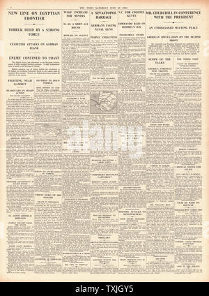 1942 page 4 The Times Battle for Tobruk, Churchill meets Roosevelt in America and Lt-Col. Geoffrey Keyes posthumously awarded the Victoria Cross - Stock Photo