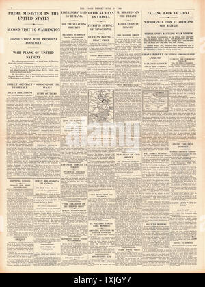 1942 page 4 The Times Churchill Visits Roosevelt in America and Battle for Tobruk and Sebastapol - Stock Photo