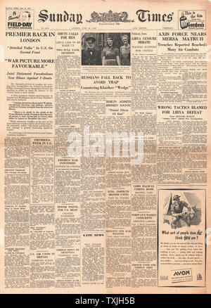 1942 front page Sunday Times German Army advance into Egypt and Churchill returns from America with a Victory Plan - Stock Photo