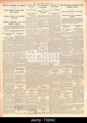 1942 page 4 The Times Battle for Egypt and Mersa Matruh and Churchill returns from America with a Victory Plan - Stock Photo