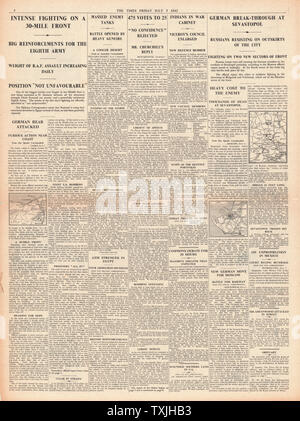 1942 page 4 The Times Battle for Egypt and Crimea and Churchill wins Commons vote of confidence - Stock Photo