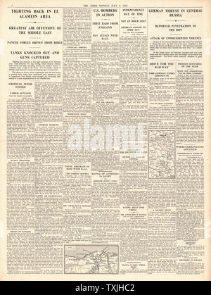 1942 page 4 The Times Battle for Egypt, German Advance on Eastern Front and Churchill pledges aid to China - Stock Photo