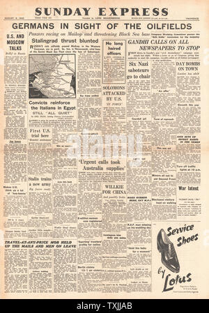 1942 front page Sunday Express Battle for the Caucasus - Stock Photo