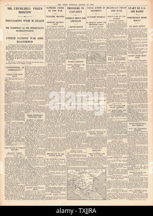 1942 page 4  The Times Churchill Visits Moscow, Battle for the Caucasus, Battle for Solomon Islands and U.S. Airforce Bomb Rouen - Stock Photo