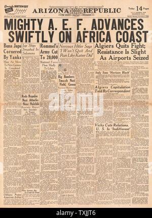 1942 front page  Arizona Republic American Forces in Algeria - Stock Photo