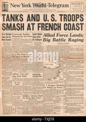 1942 front page   New York World Telegram American Forces in Algeria - Stock Photo
