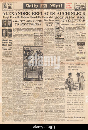 1942 front page  Daily Mail Second Front Plans agreed by Churchill and Stalin and Battle for Stalingrad - Stock Photo