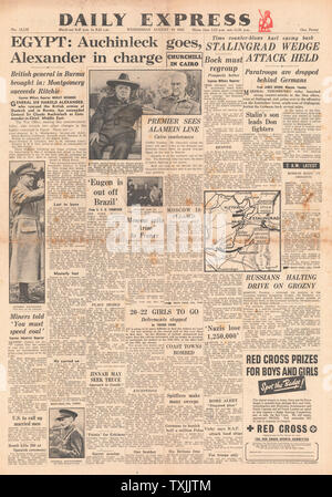 1942 front page  Daily Express Second Front Plans agreed by Churchill and Stalin and Battle for Stalingrad - Stock Photo