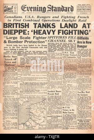 1942 front page  Evening Standard British Commando Raid on Dieppe - Stock Photo