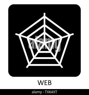 Spider web icon illustration on dark background - Stock Photo