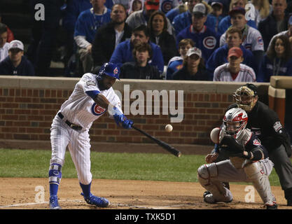 Chicago Cubs' Dexter Fowler doubles against the Cleveland Indians during the first inning in game 4 of the World Series at Wrigley Field in Chicago, October 29, 2016. Photo by Frank Polich/UPI - Stock Photo
