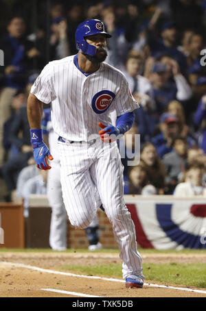 Chicago Cubs' Jason Heyward singles against the Cleveland Indians during the second inning in game 4 of the World Series at Wrigley Field in Chicago, October 29, 2016. Photo by Kamil Krzaczynski/UPI - Stock Photo