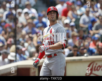 St. Louis Cardinals Randal Grichuk smiles after hitting a solo home run against the Chicago Cubs in the second inning at Wrigley Field on July 21, 2017 in Chicago. Photo by Kamil Krzaczynski/UPI - Stock Photo