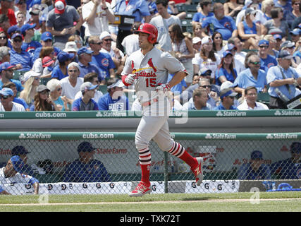 St. Louis Cardinals Randal Grichuk runs the bases after hitting a solo home run against the Chicago Cubs in the second inning at Wrigley Field on July 21, 2017 in Chicago. Photo by Kamil Krzaczynski/UPI - Stock Photo