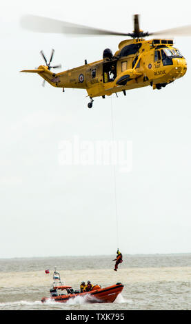 RAF training rescue with RNLI at the Clacton air show - Stock Photo