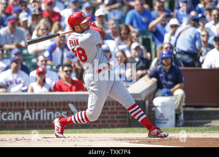 St. Louis Cardinals Tommy Pham hits a solo home run off Chicago Cubs John Lackey in the first inning at Wrigley Field on September 15, 2017 in Chicago. Photo by Kamil Krzaczynski/UPI - Stock Photo