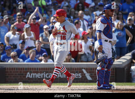 St. Louis Cardinals Kolten Wong (16) scores on a single by Carlos Martinez against the Chicago Cubs in the fifth inning at Wrigley Field on September 15, 2017 in Chicago. Photo by Kamil Krzaczynski/UPI - Stock Photo
