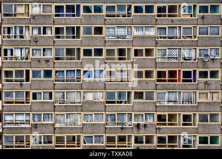 Facade of a Council Estate tower block in South London England Britain UK - Stock Photo
