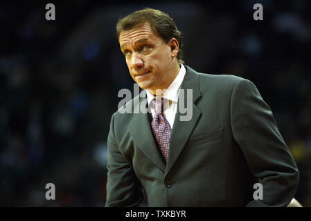 Detroit Pistons head coach Flip Saunders works the sidelines as his team defeats the Charlotte Bobcats 103-78 at the Charlotte Bobcats Arena in Charlotte, N.C. on December 17, 2005. (UPI Photo/Nell Redmond) - Stock Photo