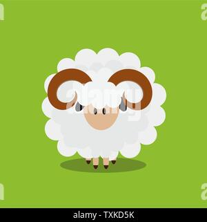 Abstract flat sheep icon. Vector illustrator - Stock Photo